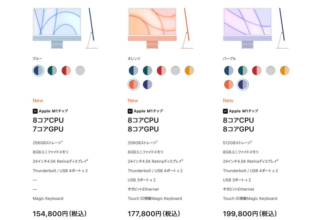 iMac_価格表
